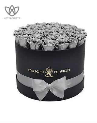 Forever Medio - medium black round box - silver infinity roses