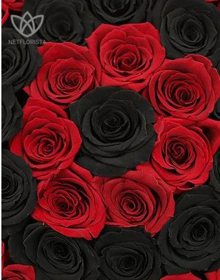 Forever Medio - medium black round box - red and black infinity roses