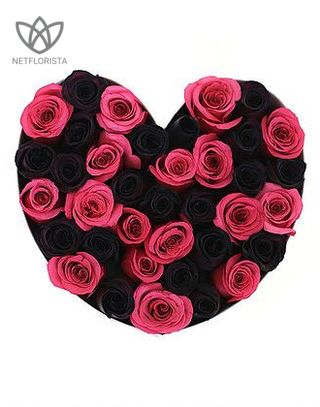 Forever Amore - white heart shape box - hot pink and black infinity roses