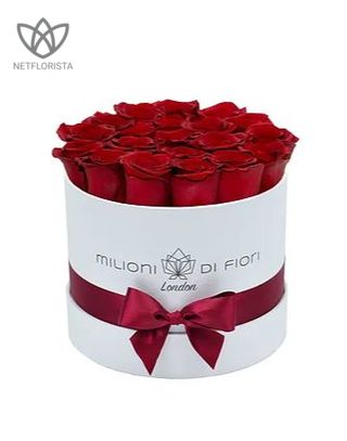 Forever Piccolo - small white or black round box - red infinity roses