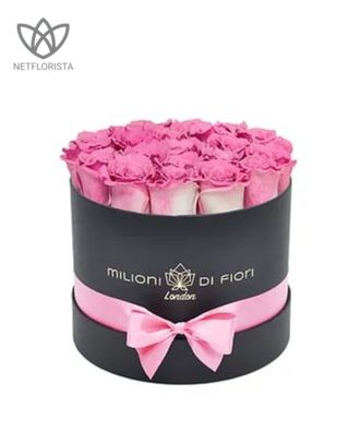 Forever Piccolo - small black round box - pink and white infinity roses