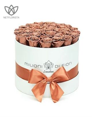 Forever Medio - medium white round box - copper infinity roses