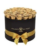 Forever Medio - medium black round box - gold infinity roses