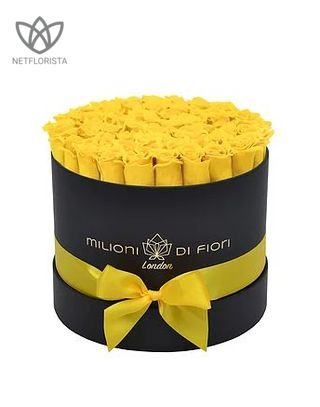 Forever Medio - medium black round box - yellow infinity roses