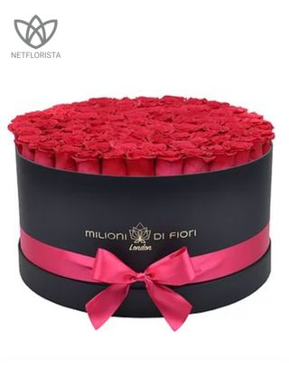Forever Grande - large black round box - hot pink/cerise infinity roses