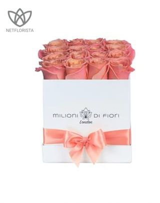 Quadrata - small white square box - peach roses