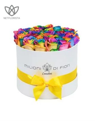 Piccolo - small white hat box - rainbow roses