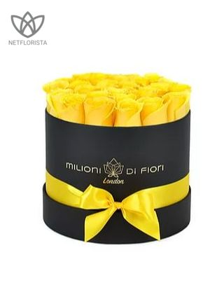 Piccolo - small black round box - yellow roses