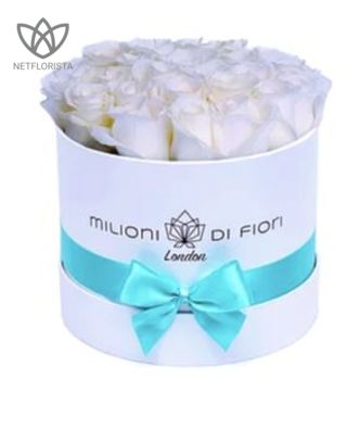 Piccolo - small white round box - white roses