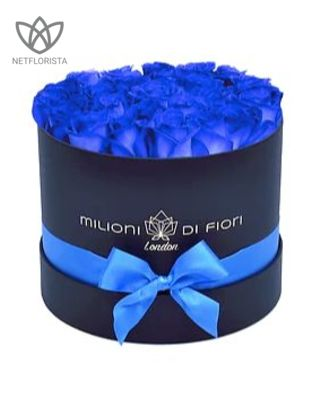 Piccolo - small black hat box - blue roses Price