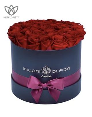 Medio - medium black hat box - red roses