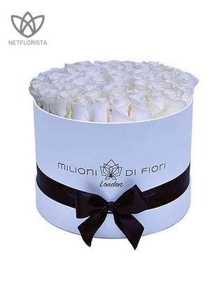 Medio - medium white hat box - white roses