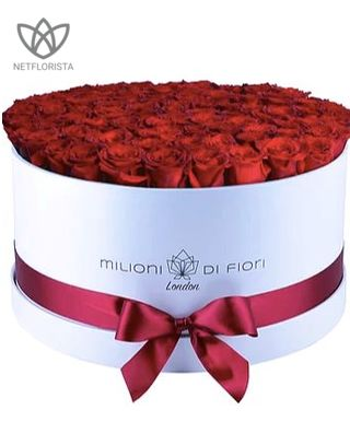 Grande - large white hat box - red roses
