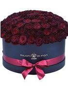 Grande - large black or white hat box - burgundy roses
