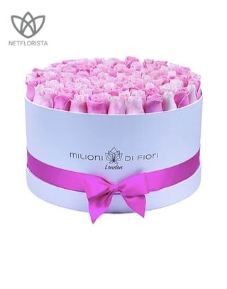 Grande - large white hat box - mixed pink roses