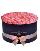 Grande - large black round box - peach roses