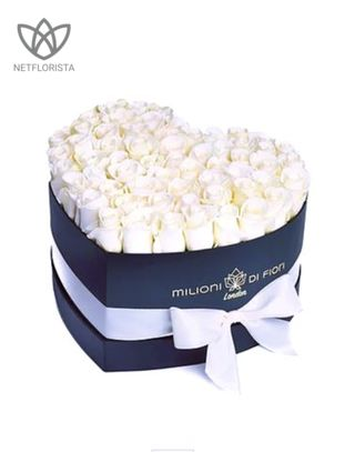 Amore - black heart shape box - white roses