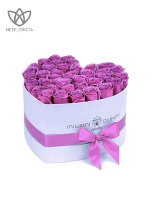 Amore - limited edition white heart shape box - pink roses