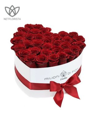 Amore - limited edition white or black heart shape box - red roses